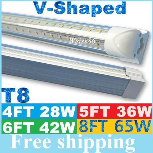 V-Shaped 4ft 5ft 6ft 8ft Cooler Door Led Tubes T8 Integrated Led Tubes Double Sides SMD2835 Led Fluorescent Lights AC 85-265V UL DLC