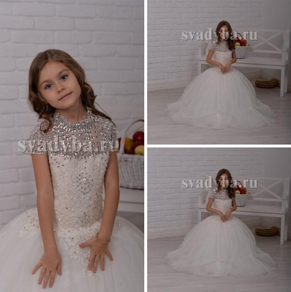 Crystals Applique Short Sleeves Ball Gown Baby Girl Birthday Party Christmas Dresses Children Girl Party Dresses Flower Girl Dresses