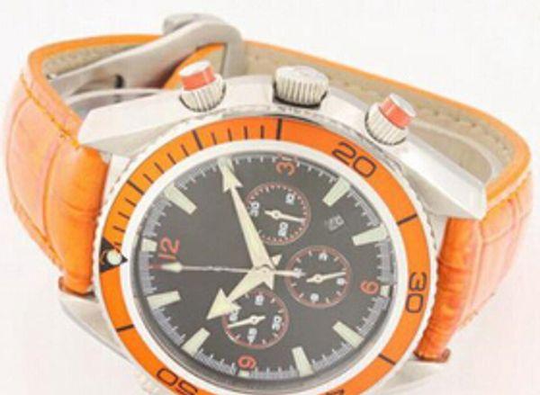 Luxury Original Swiss Top Brands Leather Watches Buckle Sea Planet Ocean Fashion Mens Sports Quartz Chronograph Watch Date For Men Stopwatch
