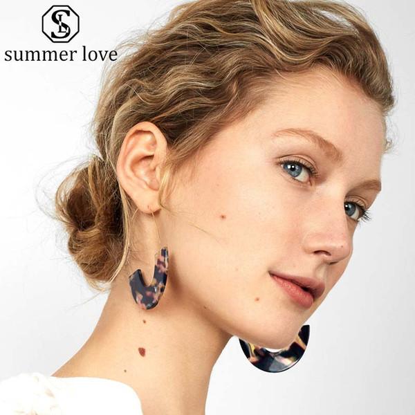 High Quality Resin Leopard Grain U Shaped Dangle Earring for Women 9 Color Copper Hook Drop Earring Trendy Jewelry Gift 2019