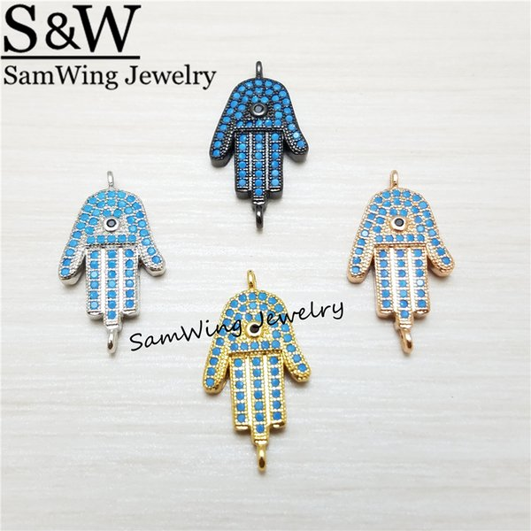 10pcs Turkey Eye Hamsa Hand Charms Pendants Connectors For Bracelet Metal Nano stone Charms Diy Necklace Jewelry Making