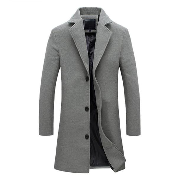 Longo de grandes dimensões Mens trench coat 2018 inverno único Breasted Causal Jacket Plus Size Turn Down Collar Masculino Casaco 3XL 4XL 5XL