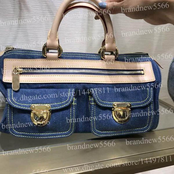 Hot sell 32cm Women's Jeans Handbag 44462 Genuine Calfskin Leather Shoulder Bag with Two Pocket Front 2019 Lady Handle Tote