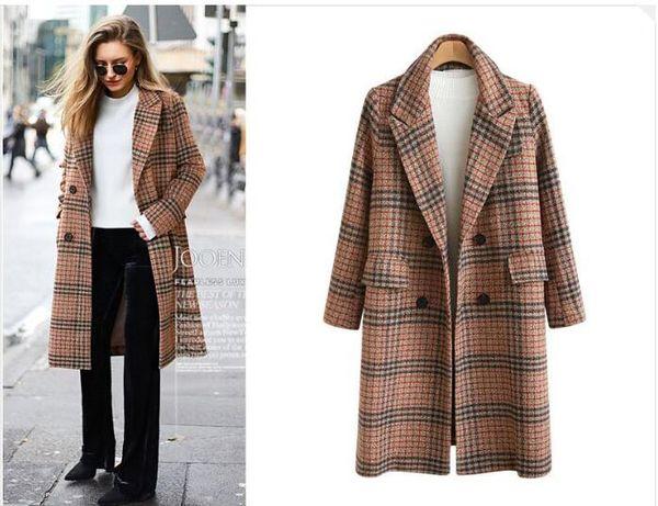 Autumn Winter Women Fashion Plaid Slim Women's Trench Coats Wool & Blends Lapel Neck long sleeves coats plus size XL-4XL