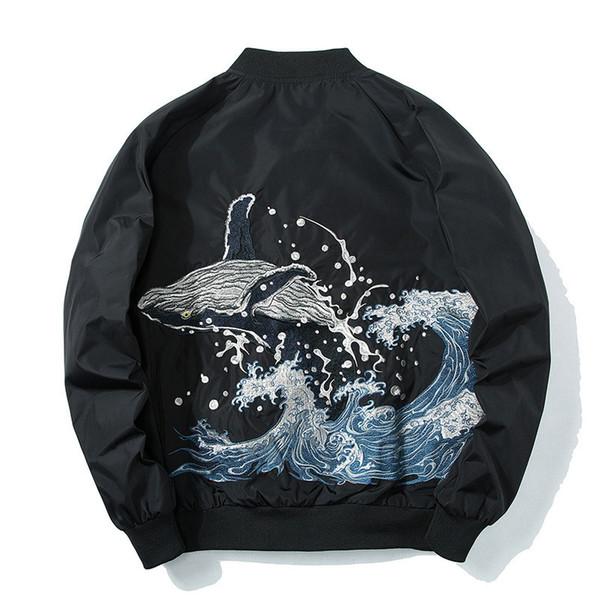 Embroidery Whale Ma1 Bomber Jacket Coat 2019 Japanese Street Style Pilot Bomber Coats Jackets Us Size Xs-xl