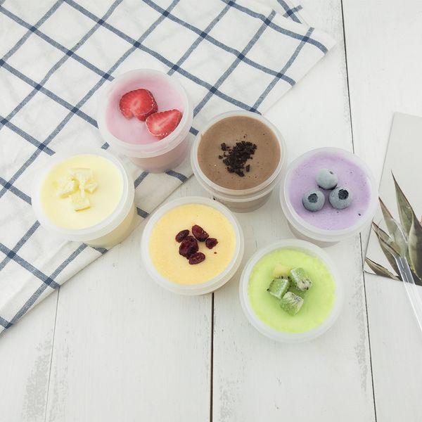 100 ml de tasse de crème glacée en plastique avec couvercle DIY Cake Dessert Smoothies Tasses Contenants Bols Partie Cuisson Fournitures Crème Glacée Outils QW9886