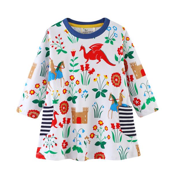 Flower Girls Dress Long Sleeved Spring Summer Children Girls Unicorn Designer Pocket Animal Embroiderd Cotton Dresses