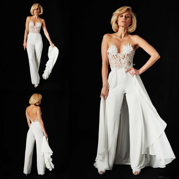 Fait sur mesure dentelle Jumpsuit robes de soirée détachable train 2019 Illusion Sexy en mousseline de soie corsage Backless Robes de mariée plage
