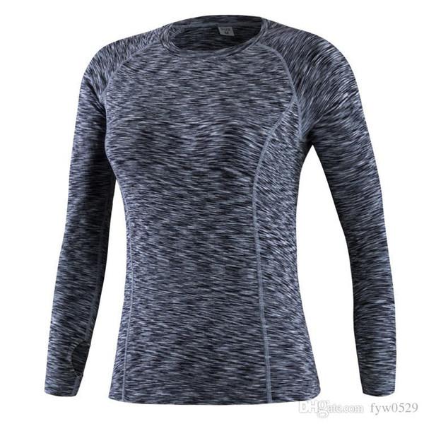 Manga larga de las mujeres de baloncesto de la aptitud correr deportes yoga camiseta de las mujeres tops de otoño gimnasio compresión apretado camisetas f02