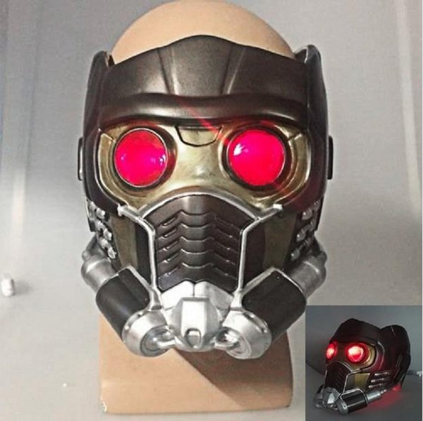 New!!! Hor Cos Guardians of the Galaxy Helmet Cosplay Peter Quill Helmet PVC with Led Light Star Lord Helmet Halloween Party Mask Adults