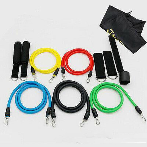 top popular DHL Free Ship 11pcs set Pull Rope Fitness Exercises Resistance Bands Latex Tubes Pedal Excerciser Body Training Workout Elastic Yoga Band 2021