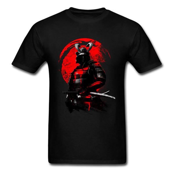 Samurai Warrior Top Freddo Nero Rosso T-Shirt Uomo Eroe Magliette Giappone Anime Tees Abbigliamento in Cotone Spadaccino Maglietta J190610