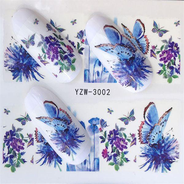 100 Hojas Conjunto Flor Mixta Transferencia de Agua Pegatinas de Uñas Calcomanías Consejos de Arte Decoración Manicura Pegatinas Ongles