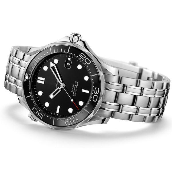 Planeta exterior Ocean Ocean 600 M Correa plegable de acero inoxidable 43 MM Automático Negro Dial Relojes para hombre Reloj de hombre Reloj
