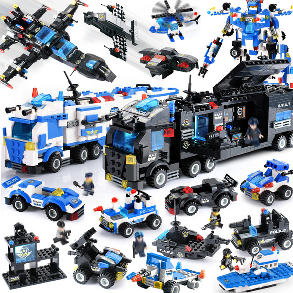 City Police Compatible LegoINGly City Blocks 8 in 1/6 In 1 Vehicle Car Helicopter Police Staction Building Blocks DIY Bricks