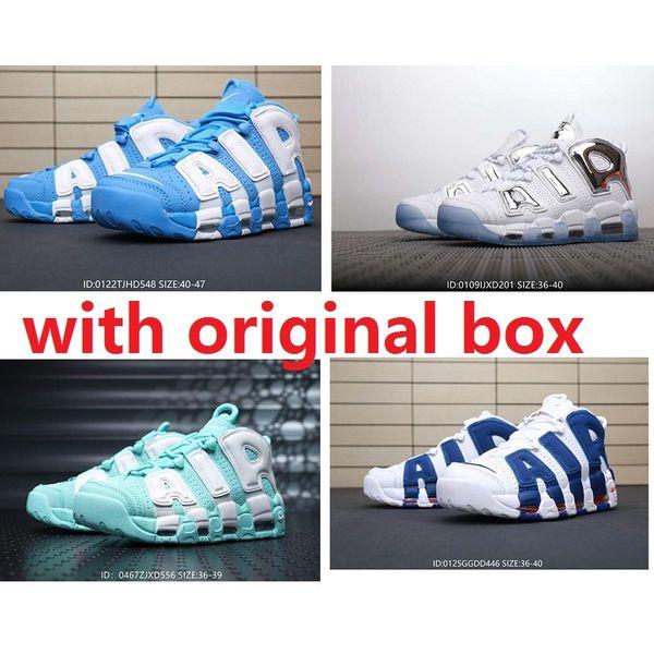 Ucuz erkek Hava daha satılık Uptempo basketbol ayakkabı retro satılık Scottie Pippen 96 Üniversitesi Mavi sland Yeşil Krom çocuk bayan botları sneakers