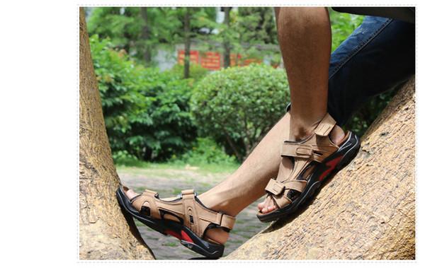 2019 nouvelles sandales de plage mode pour hommes en cuir avec couche supérieure