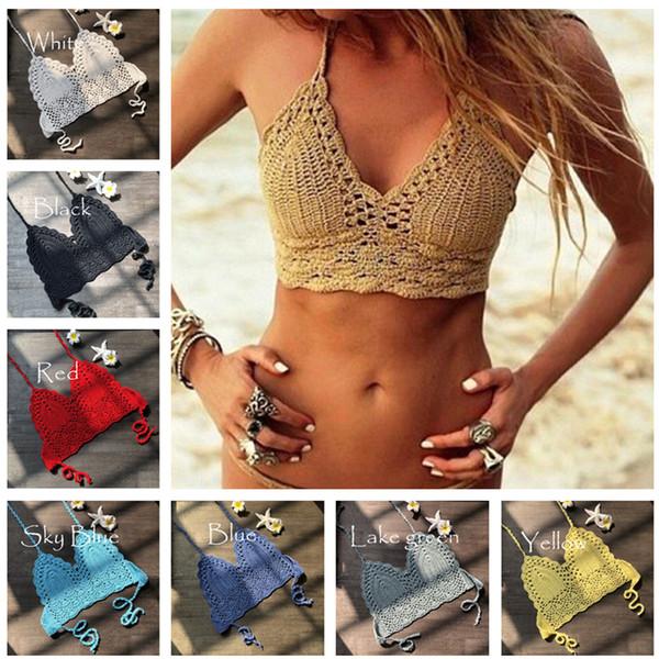 Fashion Crochet Lace Bikini Vest Knitted Bra Women Bandage Push-up Boho Beach Padded Bras Halter Cami Tanks Crop Top Thong Knit Swimwear XL
