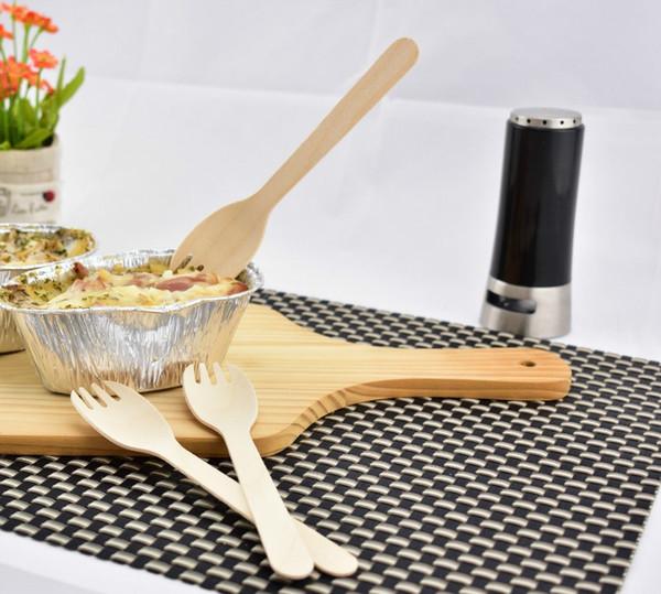 Forchetta per cucchiaio monouso in legno ecologica Forchetta per posate 2 in 1 forchetta monouso in legno 16 cm