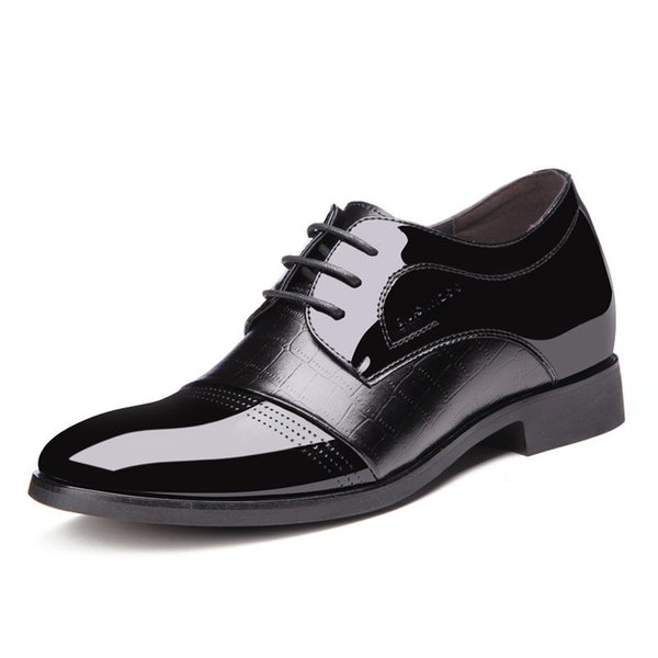 Hauteur croissante hommes cuir verni ascenseur robe robe chaussures Derby élégant formel chaussures hommes bureau costume de mariage chaussures Zapatos Hombre