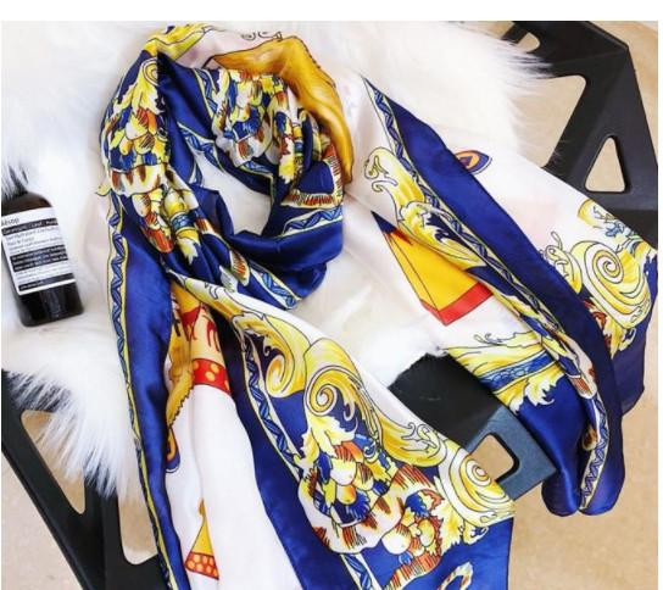 2019 Newest Designer Silk Scarf Women brand Scarves Long Shawls and Wraps Scarfs Femme Head Bandana size 180x90cm fast ship