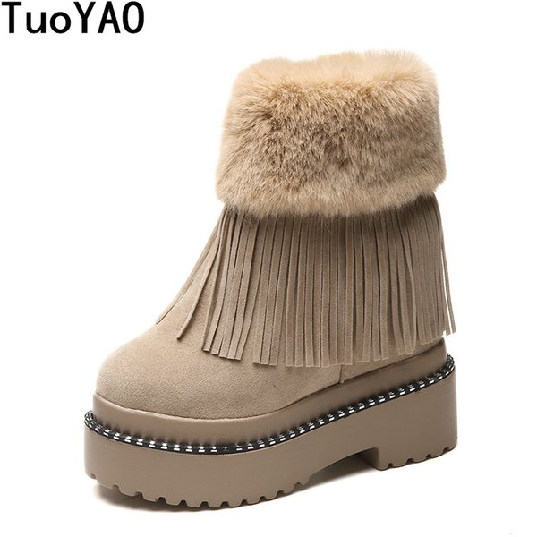 Fashion Women Casual Shoes Winter Platform Wedge Ankle Boots Height Increasing Flock Shoes Keep Warm Fur Zipper Snow Boots