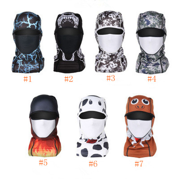 Bicycle Cycling Masks Motorcycle Hat Cycling Caps Outdoor Sport Ski Mask windproof dust head sets printing Tactical Mask ZZA546