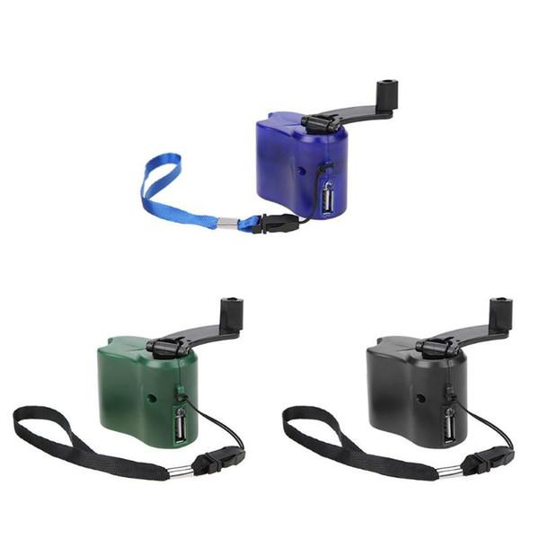 Teléfono USB Cargador de emergencia Multi herramienta Equipo de camping Camping DC 5.5V 300mA Manivela Cargador de viaje Herramienta de supervivencia al aire libre