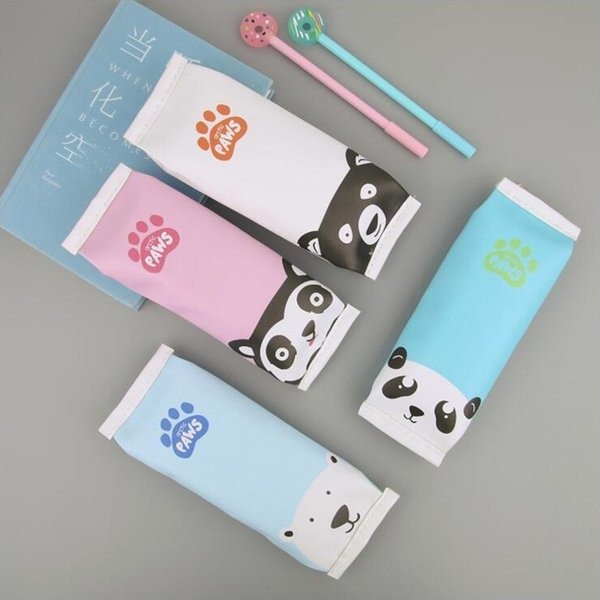 Colored Cute Bear Shape Pencil Case Office Stationery and School Supplies High Capacity PU Material Pencil Bag 1PCS