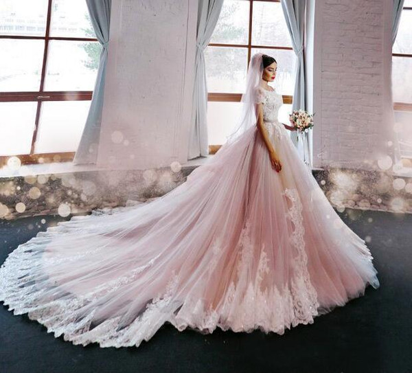Blush Pink Wedding Dresses Princess Off Shoulder Short Sleeves Lace Appliqued Chapel Train Bridal Gowns Custom Made China