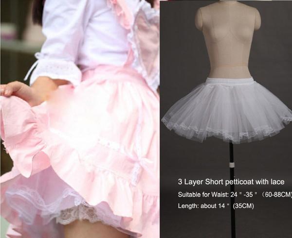 Elegant White 3 Layers Mini Petticoat Short Dress Petticoat Underskirt with Lace No Hoop Wedding Adjustable For