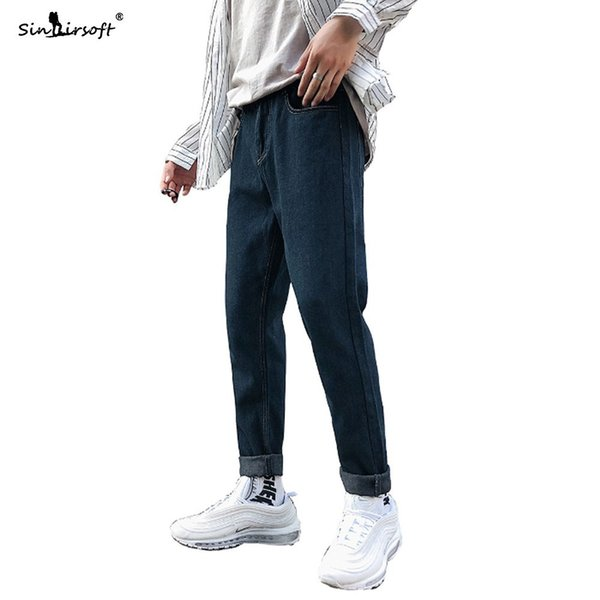 Free Shipping Denim Cuffs Skinny Pencil Pants Men Casual Ankle-Length Jeans Male Slim Breathable Soild Autumn Fashion Trousers