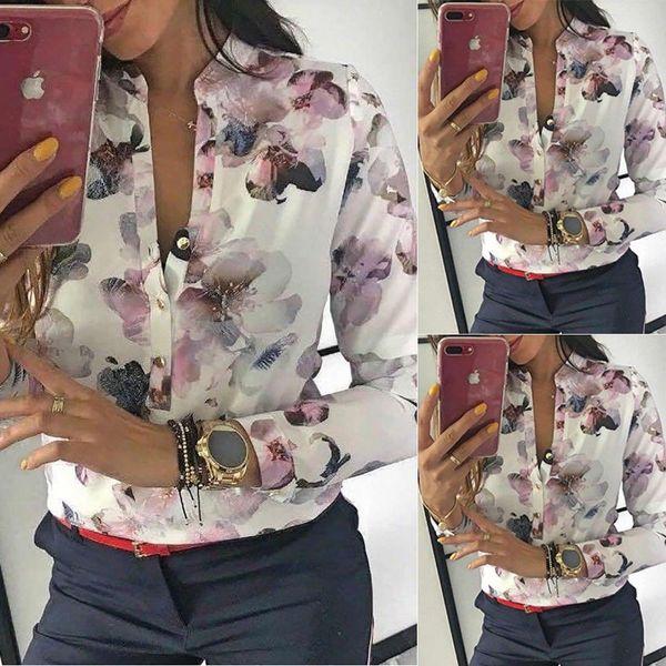 Blouses Fashion 2019 Women Long Sleeve Round Collar Office Shirt Floral Printed Shirt Casual Tops Plus Size Xl Blusas Femininas