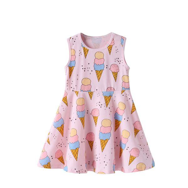 Girls Dress Cartoon Pink Ice Cream Print Dress Cute And Comfortable Round Neck Strap Princess Dress Baby Girl Clothes