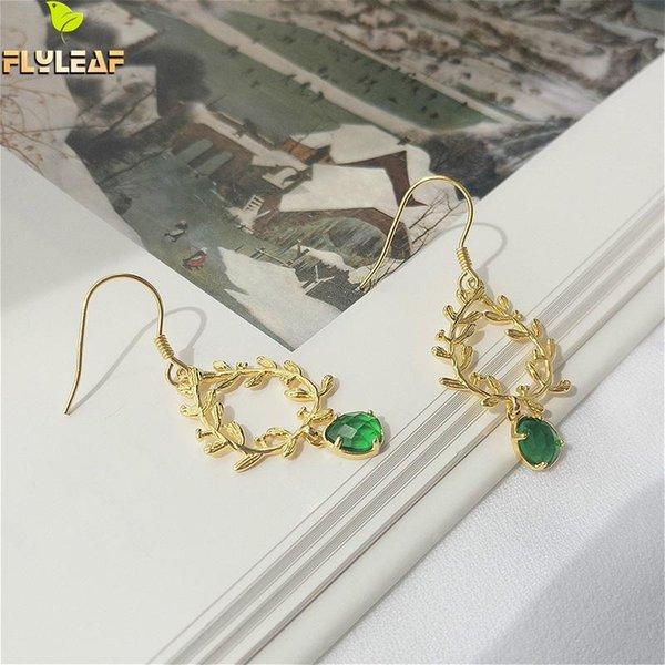 Flyleaf Vintage Green Glass Branch Drop Long Earrings For Women 100% 925 Sterling Silver 18k Gold Earings Fine Jewelry Fancy
