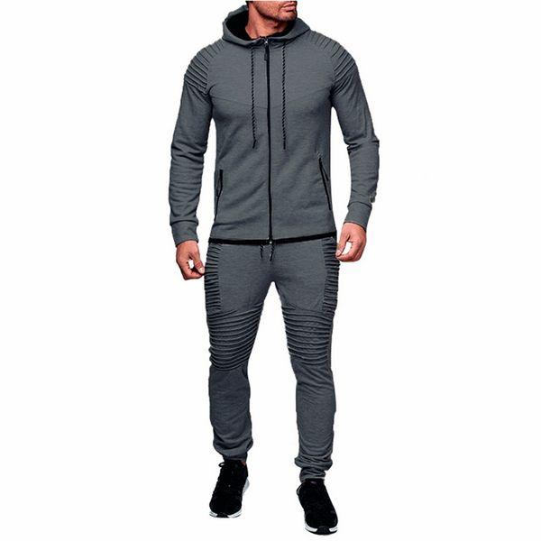 0d3fe14518c8 WENYUJH 2019 мужская весна осень толстовки спортивный костюм набор мужской  молнии плиссированные кофты тренировочные брюки High Street куртка наборы  M-3XL