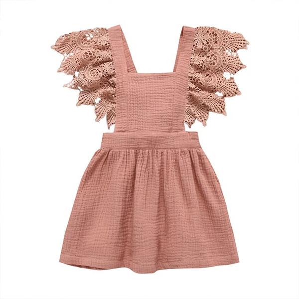Free DHL Shipping 100% Cotton INS Designer Kids Girls Dresses Princess Lace Ruffles Girls Tops Square Neck A-line Fly Sleeve Belt Dress