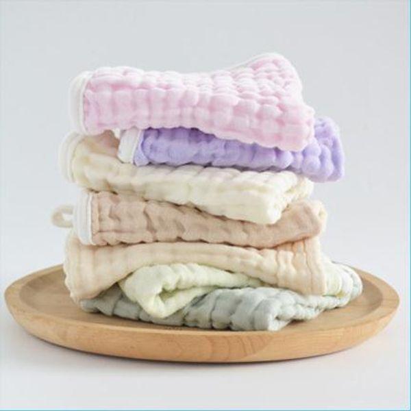 Children's non-fluorescent candy handkerchief towel infant pure cotton plant dyed water-washed gauze 6-layer mouthwash towelChildren's non-f