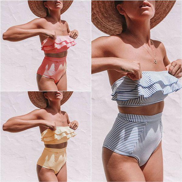 Solid color Strapless One Shoulder Bikini 3 Colors Swimwear Women stripe ruffle High Waist Swimsuit Bathing Suit summer Beachwear B11