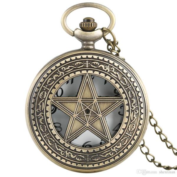 Hollow Star Design Pocket Watches Half Hunter Men's Quartz Fob Clock with Chain Antique Pendant Birthday Gift