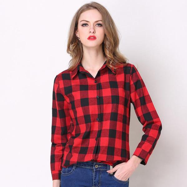 Sonbahar Sıcak Satış Kadınlar Bluz Tops 2017 Rahat Ekose Uzun Kollu Tek Göğüslü Gevşek Düğme Pamuk Gömlek Kadın Kırmızı / Siyah Streetwear