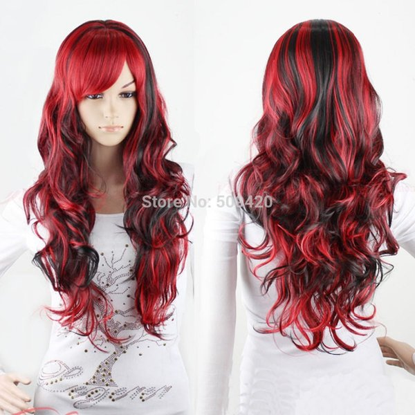 H5982Q>>Hot Cool LOLITA Wavy Curly Red Mix Black Hair Full Wigs Fancy Cosplay Party Wig