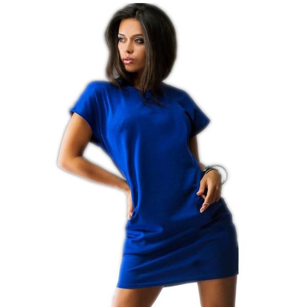 Yaz t gömlek dress seksi katı kısa kollu o boyun casual kadınlar bodycon mini elbiseler cep ince moda kırmızı mavi dress