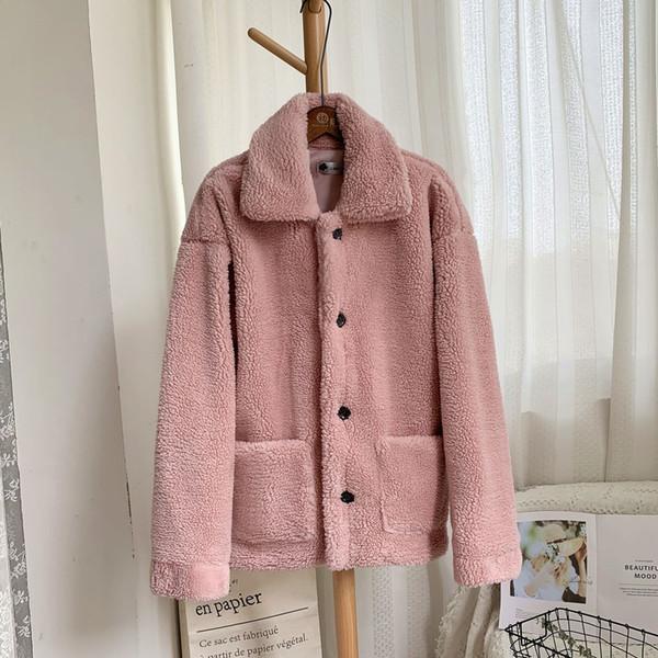 Nuovo elegante rosa Shaggy Donne Faux Fur Coat Streetwear autunno inverno caldo peluche Teddy cappotto femminile Abrigos Mujer Invierno 2019
