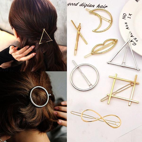 New Fashion Woman Hair Accessories Triangle Hair Clip Pin Metal Geometric Alloy Hairband Moon Circle Hairgrip Barrette Girls Holder