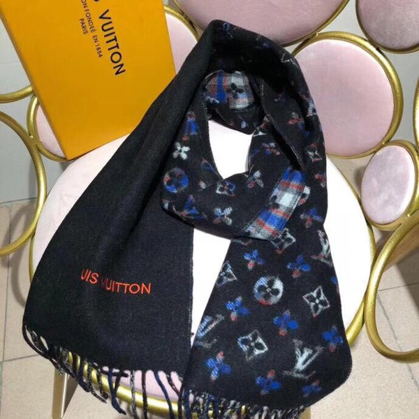 Double-sided winter women's men's cashmere scarf classic pattern scarf women's Pashmina designer shawl scarf without box L3006
