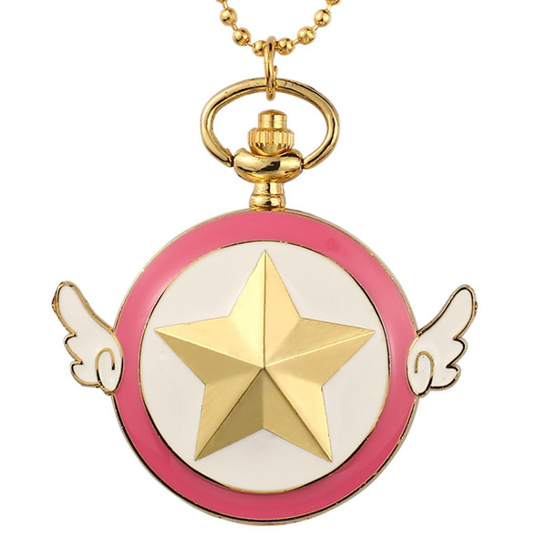 Wings Star Cartoon Pink Pocket Watches Toy Version Stars Pocket Watch Pendant Necklace Fob Quartz Clock With Chain Kid Cute Gift