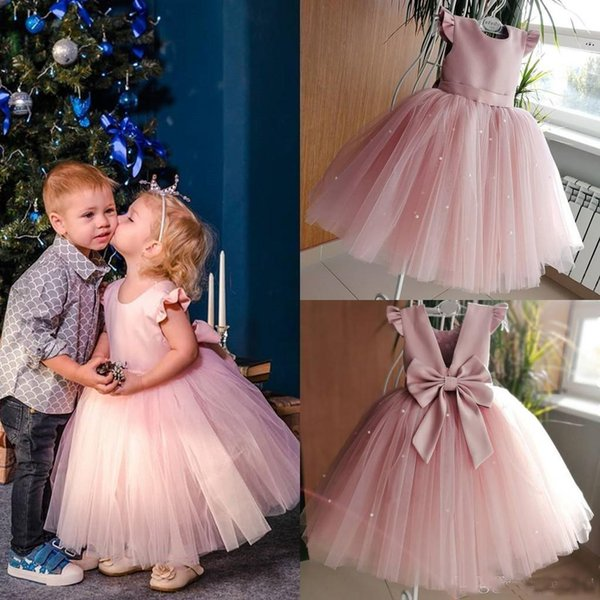 2019 Hot Sale Ball Gown Pink Designer Kids Dresses Tulle Jewel Neck Backless Bow Short Sleeves Sequins Child Party Gowns