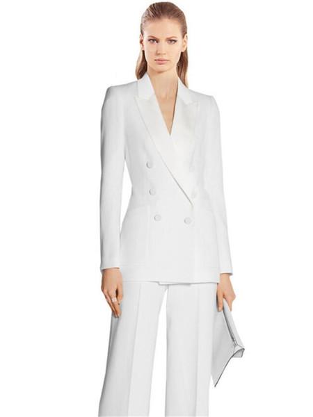 Mulheres brancas de Negócios PantSuits 2 Peça Formal Profissional Elegante Ternos Escritório Estilo Uniforme Das Senhoras Ternos de Desgaste do Trabalho de Escritório