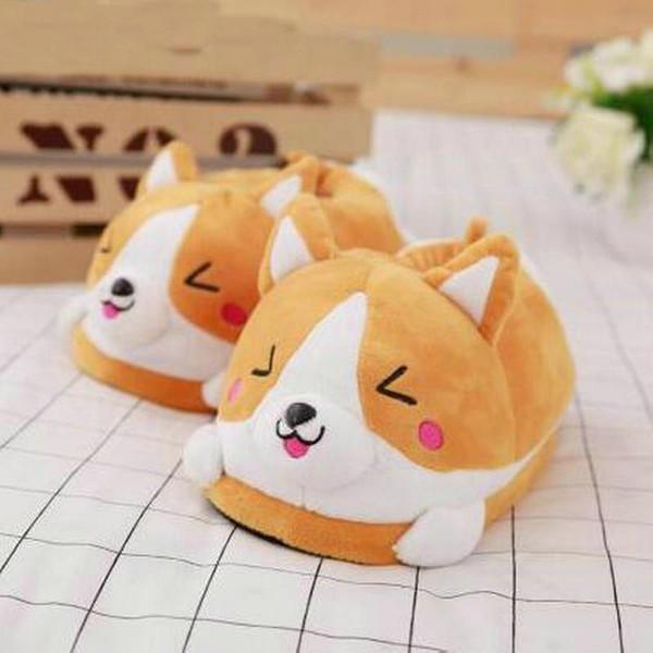 Winter warm Indoor floor bedroom Cotton Koi dog slippers cartoon cute plush Keji slippers home slip cotton pad shoes